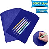 50 Sheets Carbon Transfer Paper,Blue Carbon Copy Paper Tracing Paper with 5pcs Double-end Embossing Stylus for Wood,Paper,Canvas and Other Art Surfaces (8.3 x 11.7 inch)
