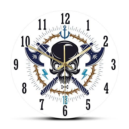 Reloj de pared Agresivo Calavera Pirata Emblema Moderno Reloj de Pared Estilo Vintage Jolly Roger Decoración del Hogar Tatuaje Deadhead Silent Sweep Reloj de Pared