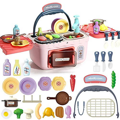 Kids Kitchen Playset, Picnic & Kitchen Pretend Toys with Music, Lights, Play Foods, Play Sink, Portable Picnic Basket Sets, Gift for Girls and Boys