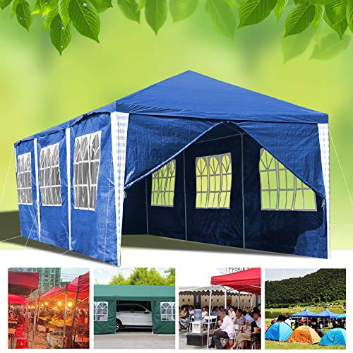 Hengda 3x9m Garden Gazebo Waterproof Garden Camping Stable Tent Steel Tubes Stable with 6 Side Parts and 2 Waterproof Entries