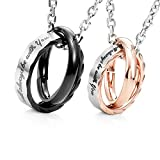 Amazing His & Hers Couples 'I Will Always Be with You' Rings Pendant Necklace 19' & 21' Chain