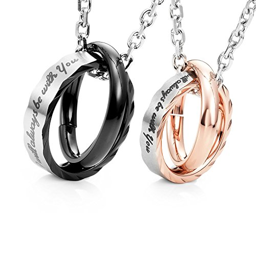 Product Image of the Amazing His & Hers Couples 'I Will Always Be with You' Rings Pendant Necklace...