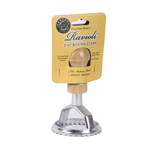 Fantes Ravioli Maker Stamp Set, Round Stamp with Wooden Handle and Fluted Edge, 2.5-Inch, The Italian Market Original since 1906