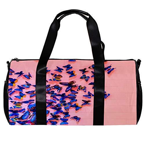 Borsone da palestra rotondo con tracolla staccabile rosa con farfalle blu borsa da allenamento per donne e uomini
