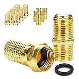 TLS.eagle Juego de 10 conectores F chapados en oro para reparación de cable coaxial RG6 de 5 piezas hembra