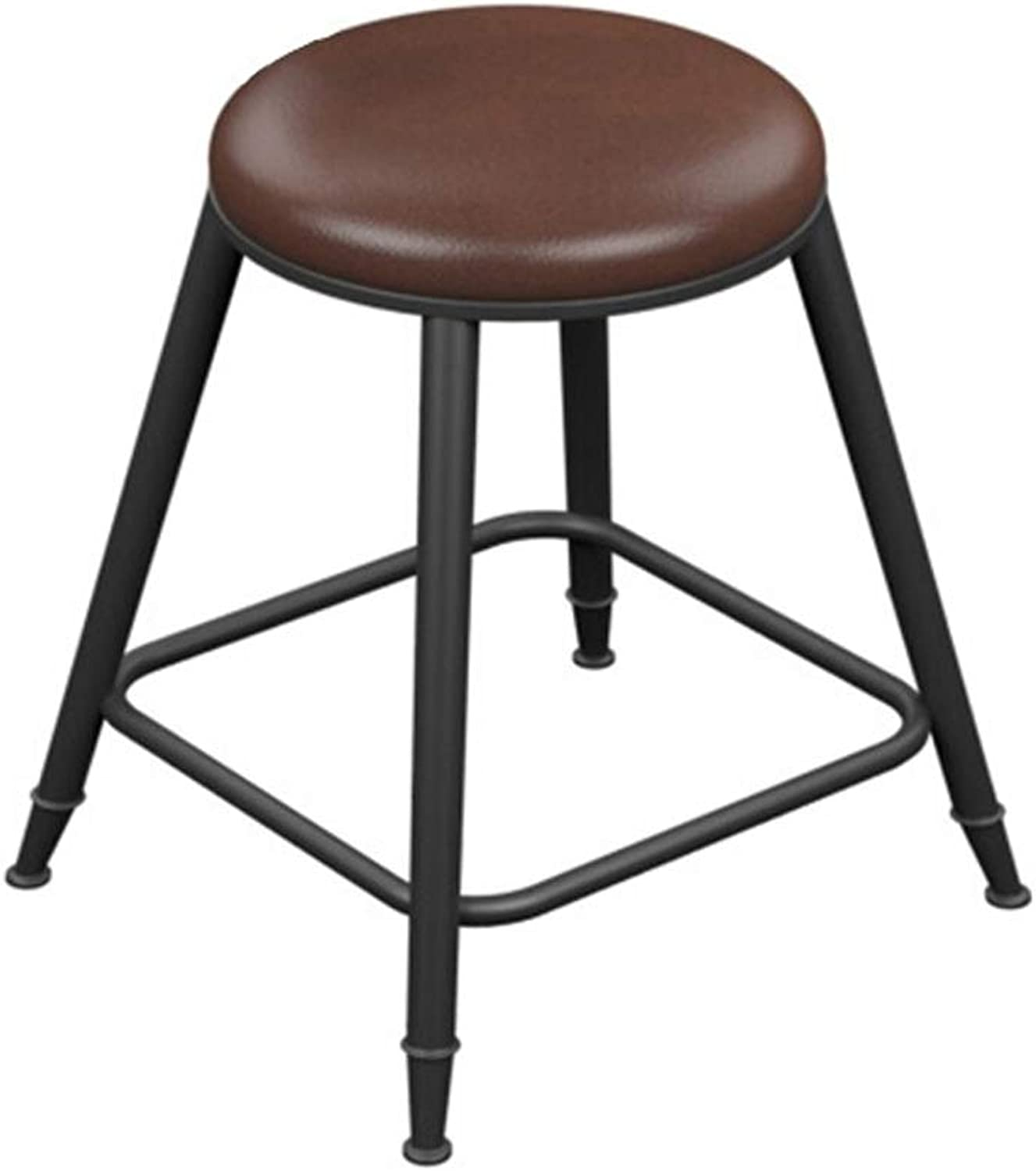 Bar Stool Bar Stool Modern Minimalist European High Chair Solid Wood Wrought Iron Table and Chairs Bar Stool Two Types (color   Leather, Size   60)