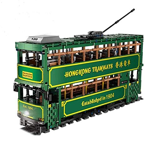 autobús de dos pisos con estructura de bloques de construcción de juguete con pista, 2.4G / App 1:18 modelo de autobús RC con control remoto y motor, 2528 piezas de bloques de construcción