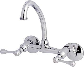 Kingston Brass KS374C Kingston 6-Inch Adjustable Center Wall Mount Laundry Faucet, Polished Chrome