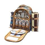 オールインワン ピクニック リュック LoaMythos(ロアミトス) クーラーバッグ仕様 カトラリーセット アウトドア 食器 レジャーシート付き 保冷バッグ キャンプ用品 グランピング おしゃピク (4人用)