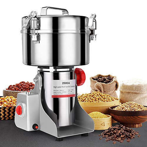 SLSY 2500g Electric Grain Grinders Mill Machine for Home Use, 304 Stainless Steel Grain Grinding Machine for Wheat Flour Grains, Commercial Powder Machine