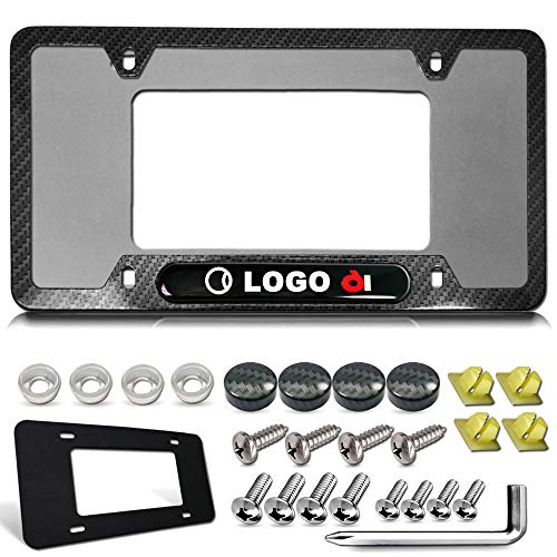 License Plate Frame for Audi- 4 Rings Logo Tag Frame, Black Carbon Fiber Patterned Aluminum Plate Cover Holder with Stainless Steel Screws, Gift Accessories- Bolt caps and Plate pad, 1 Pack