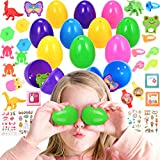 Nabance - Lote de 24 huevos de Pascua con minidinosaurios y mariposa, 4 pegatinas de estilo Pascua, regalos de Pascua, sorpresa para niños, regalo de cumpleaños