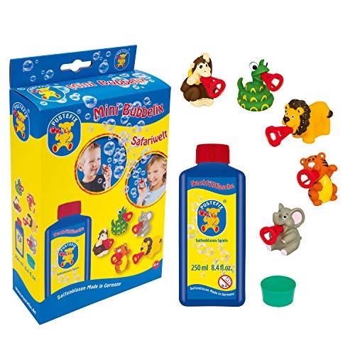 Pustefix Mini Bubbelix Safariwelt I 250 ml Seifenblasenwasser I Made in Germany I Seifenblasen Spielzeug für Kindergeburtstag, Hochzeit, Sommerparty & als Gastgeschenk I Spaß für Kinder & Erwachsene