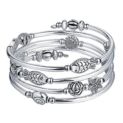 Pulsera enroscable para mujer de ágata natural, perlas multicapa, plata, día de San Valentín, bisutería de regalo, Metal Plata Cobre,
