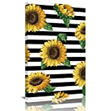 Big buy store Canvas Oil Painting Wall Art Farmhouse Floral Sunflowers Artwork Prints Picture Paintings Canvas Cover Black White Stripes Home Office Decorations Wall Decor Ready to Hang - 12x8 inches