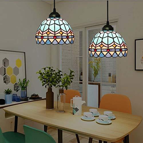 Lampadari stile Tiffany europeo Retro lampade a sospensione in vetro colorato Soggiorno camera da letto Sala da pranzo Decorazione Plafoniere a sospensione, E27 YDYG (Colore : 3)