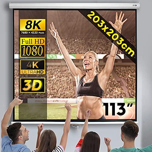 Jago® Beamerleinwand - mit und ohne Stativ (152x152cm / 178x178cm / 203x152cm / 203x203cm), Format 1:1, 4:3, 16:9, HD 4K 3D - Rolloleinwand, Projektionsleinwand, Heimkino,...