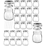 24 Pack Mason Jars 10OZ with Regular Lids and Bands, Ideal for Jam, Honey, Wedding Favors, Shower Favors, Baby Foods, DIY Magnetic Spice Jars, 24 Whiteboard Labels Included