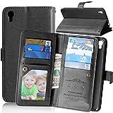 FUBAODA Alcatel One Touch Idol 3 Tasche Schwarz + Kostenlos Syncwire Ladekabel, Leder Hülle, Flip Leder Money Karte Slot Brieftasche, Hülle für Alcatel One Touch Idol 3 (5.5 inch) (schwarz)