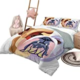 Juego de ropa de cama de edredón Bulldog inglés Ropa de cama personalizada Lavable a máquina Bicolor Estilo de dibujos animados Retrato de Bulldog Diseño de animal abstracto Tamaño de la reina Marrón