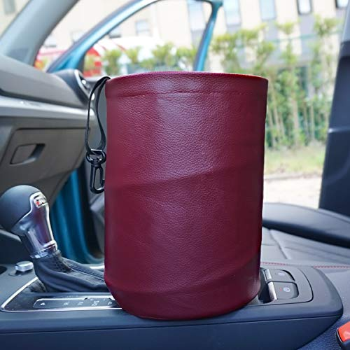 AMO Multifunctional Folding car Trash can,Double Waterproof Leather Car Garbage Can Organizer,Waste Baskets, Rubbish Bin (RED)