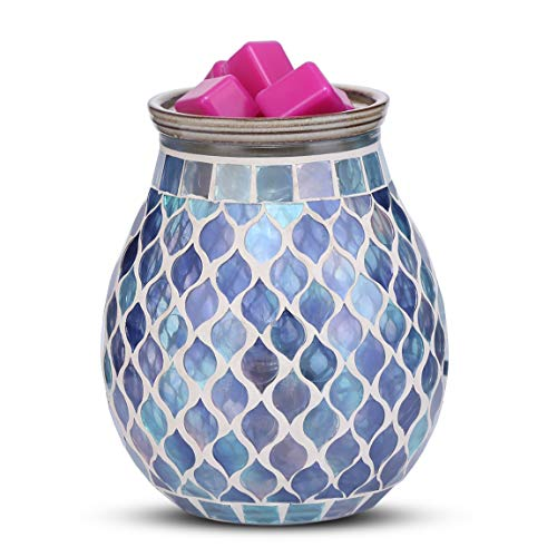 mocosa Handcrafted Mosaic Glass Electric Wax Melt Warmer Wax Burner Melter Fragrance Warmer for Home Office Bedroom Living Room Gifts & Decor, Spa and Aromatherapy