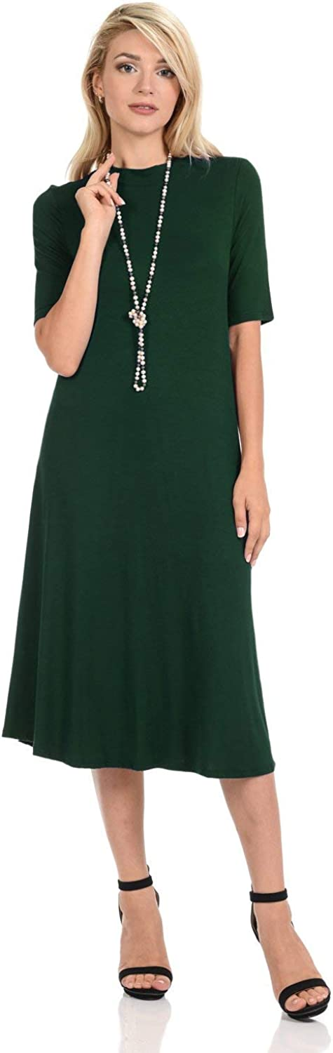 iconic luxe Women's Mock Neck Trapeze Flora Dress Max 73% OFF Midi Free shipping on posting reviews Solid and