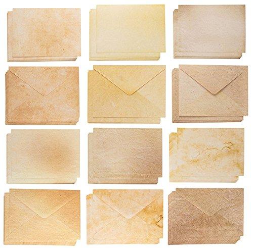 Lege Kaarten en Enveloppen - 60 A7 Enveloppen en 60 Lege Karton voor het afdrukken Uitnodigingskaarten, Ansichtkaarten, Wenskaarten, Oudere Stijl Vintage Designs, 5 x 7 Inches