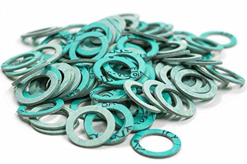 KINETICS LINE Flachdichtung 1 Zoll Spezial (30 x 21 x 2 mm) 100 Stück Typ 280 (bis zu 280°C) Verstärkt mit Kevlar® Aramidfaser