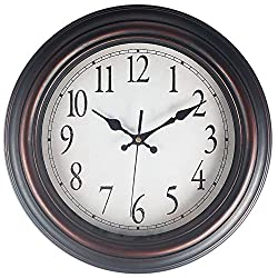 Belinlen 13 Inch Round Retro Wall Clock Classic Silent Non-Ticking Quartz Decorative Wall Clock Good for Living Room & Home & Office Battery Operated (Bronze)