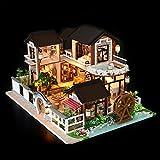 rosemaryrose DIY Puppenhaus Küche Deko Miniatur Haus Miniatur Deko-DIY Dollhouse Antike Architektur Ohne Staubschutz -