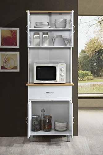Hodedah Long Standing Kitchen Cabinet with Top & Bottom Enclosed Cabinet Space, One Drawer, Large Open Space for Microwave, White