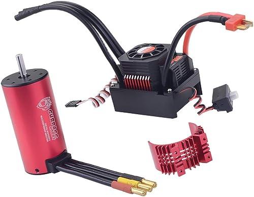 P Prettyia 3670 2650KV Sensorless Brushless Motor mit 120A Brushless ESC Regler und Kühl  für 1 8 1 10 RC Car Truck
