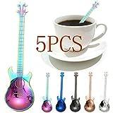 KOBWA Cuillères à café en acier inoxydable en forme de guitare - Pour le thé, le café, les apéritifs - Mini cuillères 5 pièces, 1,9 cm