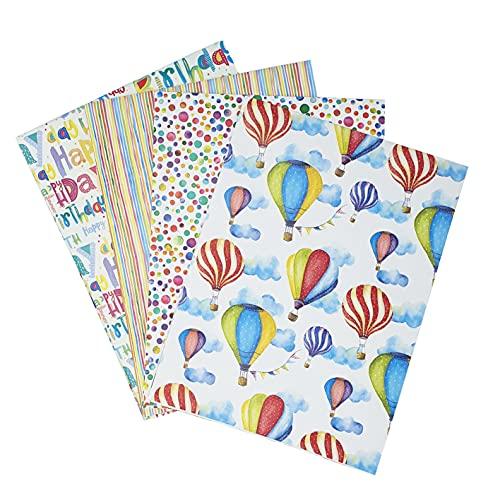 ARCA Carta da Regalo 4 Fogli colorato Carta Regalo per Ogni Occasioni Bambino Uomo Donna (Colorful)