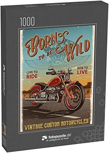fotopuzzle.de Puzzle 1000 Teile Oldtimer-Motorrad-Poster. Motorrad auf der Straße mit Wüstenhintergrund, Text und Grunge-Textur (1000, 200 oder 2000 Teile)