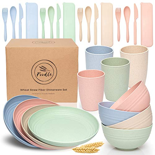 FOODLE Wheat Straw Dinnerware Sets - (28pcs) Lightweight & Unbreakable Dishes - Microwave & Dishwasher Safe - Perfect for Camping, Picnic, RV, Dorm - Plates, Cups and Bowls - Great for Kids & Adults