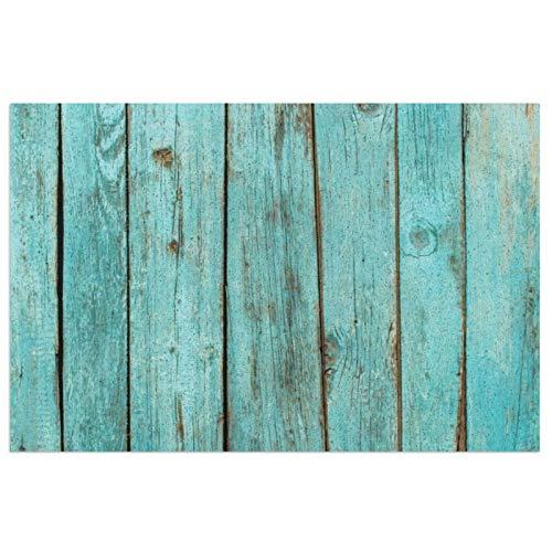 Felpudo para puerta de interior y exterior, color turquesa, madera verde azulado, con respaldo de PVC resistente, antideslizante, alfombra de entrada de bienvenida, lavable, 23,6 x 15,7 cm