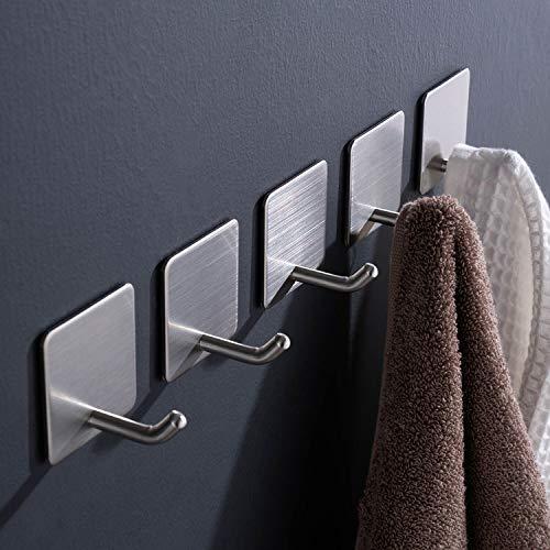 Aikzik Haken Selbstklebende, Handtuchhaken Badezimmer Wandhaken Edelstahl Handtuchhalter ohne Bohren für Bad und Küche,5 Stk