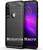 tomaxx Hülle für Motorola Moto One Macro Silikon Hülle Schutzhülle Silikon Tasche Carbon Schwarz kompatibel mit Motorola Moto One Macro