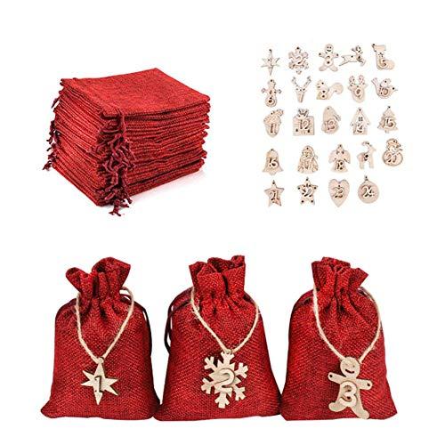 Ambolio Bolsas de Regalo Navidad Calendario de Adviento,Calendario adviento saquitos,Bolsas de Yute para Rellenar,24 Calendario de Adviento -Saquitos de Tela,Bolsa de Calendario de Adviento (Rojo)