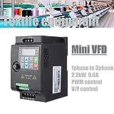 Trasformatore VFD 220V 2.2KW SKI780 Diver Inverter Convertitore di Frequenza,PWM V / F Controllo VFD Velocità Controllato Variatore di Frequenza Inverter (220VAC,2.2KW)