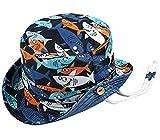 Boomly Bebé Niño Sombrero para el Sol Protector Solar Protección UV Tapa de la Cuenca Sombrero de Pescador Tiburón Impresión Verano Secado rápido Gorra de Visera (Azul, 10-18 Meses)