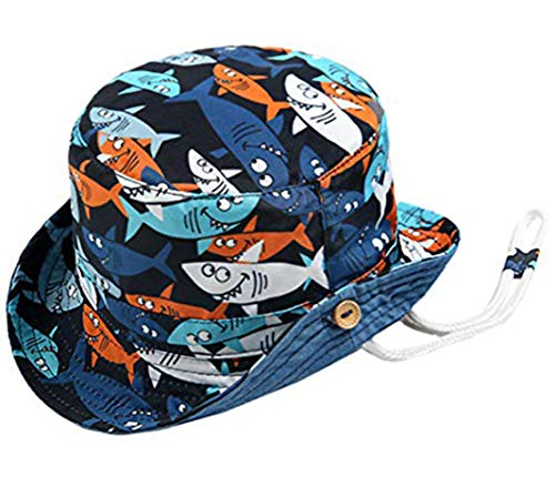 Boomly Bebé Niño Sombrero para el Sol Protector Solar Protección UV Tapa de la Cuenca Sombrero de Pescador Tiburón Impresión Verano Secado rápido Gorra de Visera (Azul, 1.5-3 años)