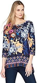 RUBY RD. Women's Floral 3/4 Sleeve Knit Top with Sharkbite Hem