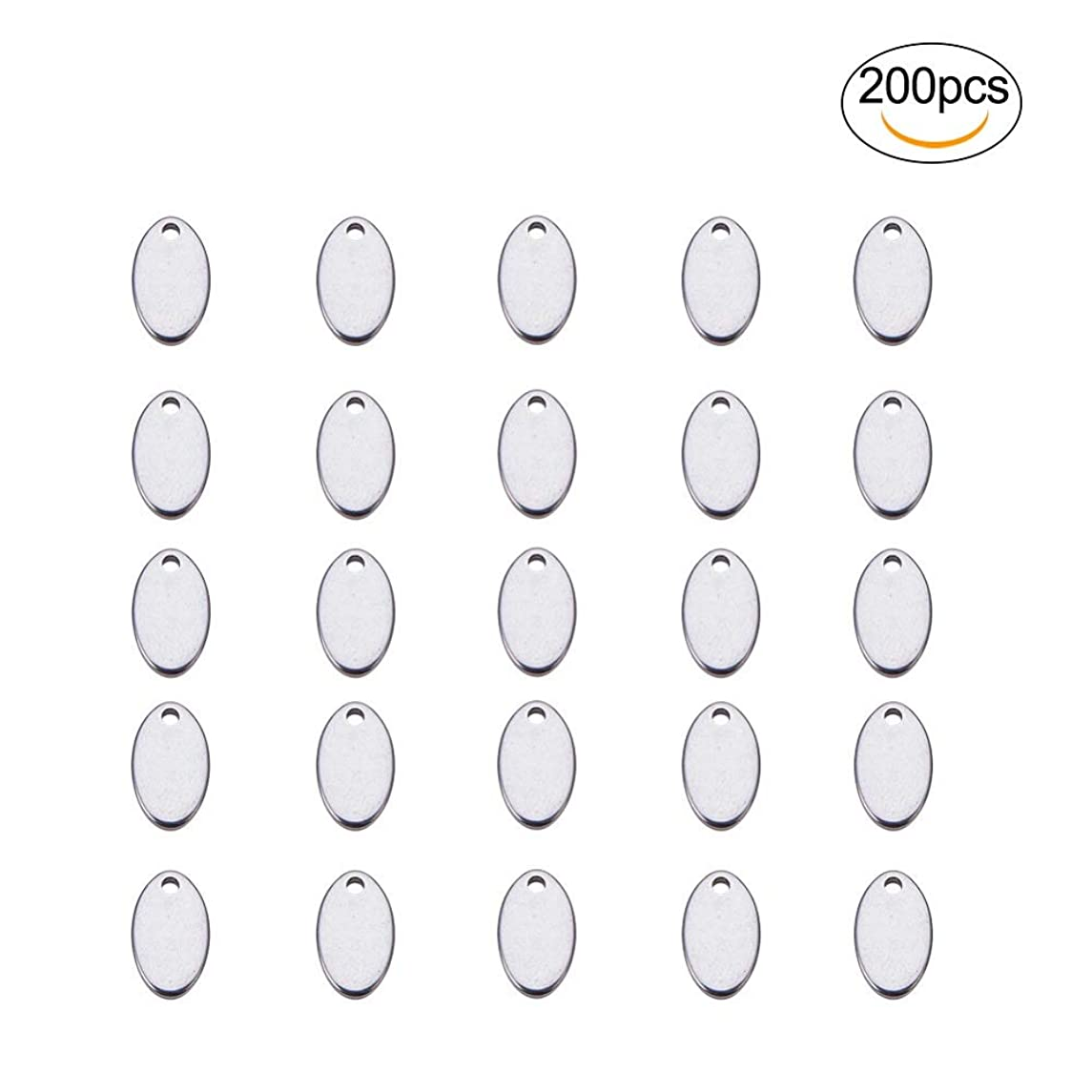 200 Pcs Stainless Steel Oval Blank Tag Charms Pendants,Stamping Tag Pendants Sets,Handmade Pendant Jewelry Accessories.Used for Bracelets,Earrings,Pendants and Various DIY Accessories. (Silver)