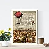 Nacnic Lámina Ciudad de Barcelona. Estilo Vintage. Ilustración, fotografía y Collage con la Historia DE Barcelona. Poster tamaño A4 Impreso en Papel