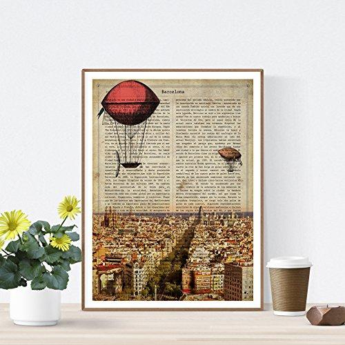 Nacnic Folie Stadt Barcelona. Vintage. Illustration, Foto und Collage mit der Geschichte von Barcelona. Poster Größe A4 Papier Bedruckt 250 Gramm und hochwertige Tinten.