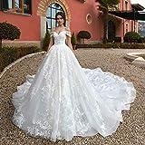 WANGMEILING Vestido de novia blanco Hasta Tren real de una línea de...