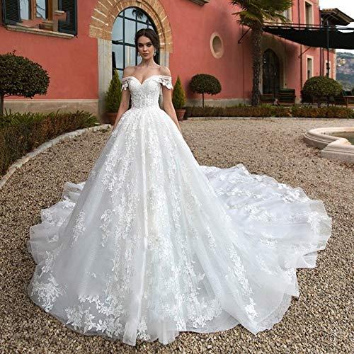 WANGMEILING Vestido de novia blanco Hasta Tren real de una línea de vestido de novia de encaje del cuello del barco de lujo 2020 con cuentas apliques vestido de novia de la princesa del traje